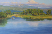 Teton Paintings - Days End on the River by Marianne  Kuhn