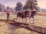 Farm Buildings Painting Originals - Days of Gold by Richard De Wolfe