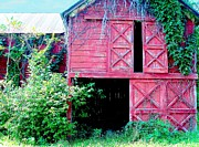 Barns Pyrography Metal Prints - Days Of Old Metal Print by L Lee