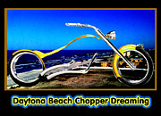 Daytona Beach Chopper Dreaming Yellow Gold Jgibney The Museum Print by The MUSEUM Artist Series jGibney