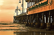 Old Florida Prints - Daytona Beach Pier Print by Carolyn Marshall