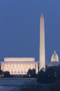 U.s. Capitol Prints - DC Landmarks at Twilight Print by Clarence Holmes