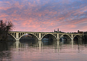 Washington D.c. Tapestries Textiles Prints - DC Sunrise over the Potomac River Print by Brendan Reals