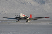 Dc-3 Plane Framed Prints - DC3T on Skis Framed Print by Mike Denton