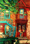 Montreal Sidewalk Terraces Acrylic Prints - De Bullion Street Girls Acrylic Print by Carole Spandau