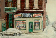 Outdoor Cafes Posters - De Bullion Street In  Winter Montreal Poster by Carole Spandau