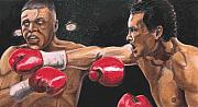 Punch Paintings - De La Hoya vs Vargas by Kenneth Kelsoe