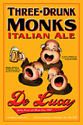 Drunk Drawings Prints - De Luca Three Drunk Monks Print by John OBrien
