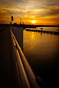 Green Bay Prints - De Pere Bridge Sunset Print by Shutter Happens Photography