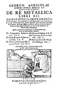 G. Agricola Prints - De Re Metallica, Title Page, 16th Print by Science Source
