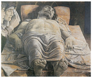 Religious Art Paintings - Dead Christ by Andrea Mantegna