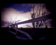 Night-scape Framed Prints - Dead End Fence Framed Print by Bryan Steffy