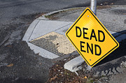 Asphalt Framed Prints - Dead End Sign Framed Print by Paul Edmondson
