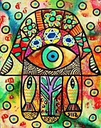 Wedding Reception Paintings - Dead Sea Fish Hamsa by Sandra Silberzweig