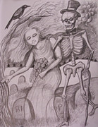Skeletons Drawings - Dead Wedding by Evelyn Cammarano