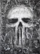 Grunge Skull Paintings - Deadly Demise by Roseanne Jones