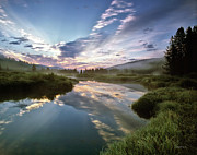 Moist Art - Deadwood River Reflection Sunrise by Leland Howard