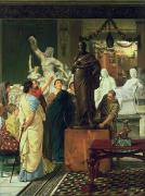 Canvas  Sculptures - Dealer in Statues  by Sir Lawrence Alma-Tadema