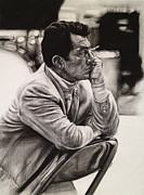 Charcoal Drawings - Dean Martin by Steve Hunter