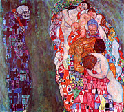 Schiele Framed Prints - Death and Life by Gustav Klimt Framed Print by Pg Reproductions