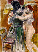Violent Drawings Prints - Death and the Maiden After Loivis Corinth Print by Richard Huntington