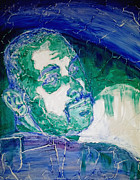 Cracking Reliefs Prints - Death Metal Portrait in Blue and Green with Fu Man Chu Mustache and Cracking Textured Canvas Print by M Zimmerman