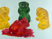 Gummy Framed Prints - Death of a Gummy Bear II Framed Print by Josh Bernstein