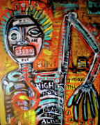 Sad Mixed Media Prints - Death Of Basquiat Print by Robert Wolverton Jr