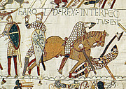 Normans Posters - Death Of Harold, Bayeux Tapestry Poster by Photo Researchers
