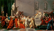 Historic Statue Painting Framed Prints - Death of Julius Caesar Framed Print by Vincenzo Camuccini