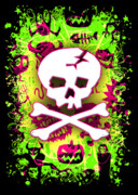 Digital Collage Framed Prints - Deathrock Skull and Bones Framed Print by Roseanne Jones