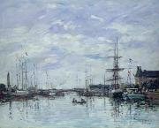Water Vessels Painting Metal Prints - Deauville the Dock Metal Print by Eugene Louis Boudin
