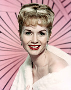 White Fur Framed Prints - Debbie Reynolds, Circa Early 1960s Framed Print by Everett