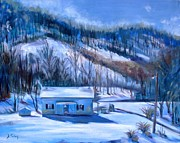 Snowfall Paintings - Debbies Homeplace by Donna Tuten