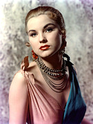 Gold Necklace Photo Framed Prints - Debra Paget, Ca. Early 1950s Framed Print by Everett
