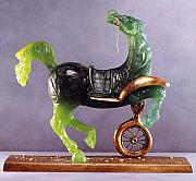 Cities Glass Art - Debris d une Automobile donnant naissance a un cheval aveugle by Salvador Dali