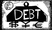 Ironic Drawings Originals - Debt Weight by Yasha Harari