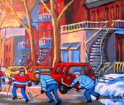 Winter Scenes Paintings - Debullion Street Hockey Stars by Carole Spandau