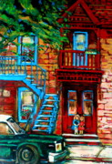 Montreal Cityscapes Paintings - Debullion Street Neighbors by Carole Spandau