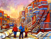 Winter Scenes Paintings - Debullion Street Winter Walk by Carole Spandau