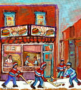 Kids Playing Hockey Paintings - Decarie Hot Dog Montreal Restaurant Paintings Ville St Laurent Streets Of Montreal Paintings by Carole Spandau