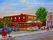 Resto Bars Paintings - Decarie  Tasty  Food  Pizza by Carole Spandau