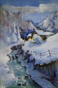 Winter Scene Paintings - December Evening by Bob Duncan