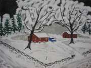 Snowy Roads Painting Prints - December Snow Print by Jeffrey Koss