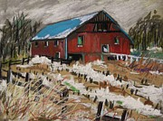 Red Roof Pastels - December Snow by John  Williams