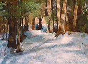 Snowy Brook Paintings - December Snow Path by Claire Gagnon