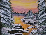 Landscape.by Sharon Duguay Originals - December Sunrise by Sharon Duguay