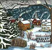 New England Village Tapestries - Textiles Framed Prints - December Village Silk Painting Framed Print by Linda Marcille