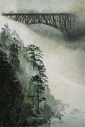 Evergreen Trees Posters - Deception Pass Fog Poster by Perry Woodfin