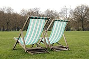 Deckchair Framed Prints - Deck Chairs Framed Print by Johnny Greig